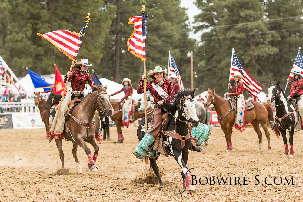 The Blazing Saddles Drill Team pays tribute to the Red, White and Blue during the third performance of the Elizabeth Stampede on Sunday, June 3, 2018.