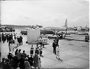 05/06/1955<br /> 06/05/1955<br /> 05th June 1955<br /> Blessing of the Aer Lingus fleet at Dublin Airport. After the ceremony the procession back to the terminal. Note Altar, motor fleet on left, band and Aer LIngus Staff representatives in procession.