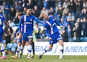 Gillingham midfielder Josh Wright (captain) celebrates his goal (3-0) with Gillingham forward Dominic Samuel during the Sky Bet League 1 match between Gillingham and Crewe Alexandra at the MEMS Priestfield Stadium, Gillingham, England on 12 March 2016. Photo by David Charbit.