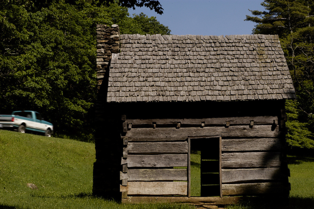 BLUE RIDGE PARKWAY- The Jesse Brown Farmstead (milepost 272.5) consists of a cabin (pictured), spring house, and the relocated Cool Springs Baptist Church