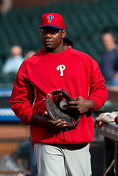 SAN FRANCISCO, CA - MAY 06: Ryan Howard #6 of the Philadelphia Phillies holds his glove and a baseball during batting practice before the game against the San Francisco Giants at AT&T Park on May 6, 2013 in San Francisco, California. The Philadelphia Phillies defeated the San Francisco Giants 6-2. (Photo by Jason O. Watson/Getty Images) *** Local Caption *** Ryan Howard