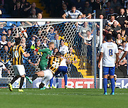 Ryan Inniss sees his shot go wide during the Sky Bet League 1 match between Bury and Port Vale at Gigg Lane, Bury, England on 19 September 2015. Photo by Mark Pollitt.