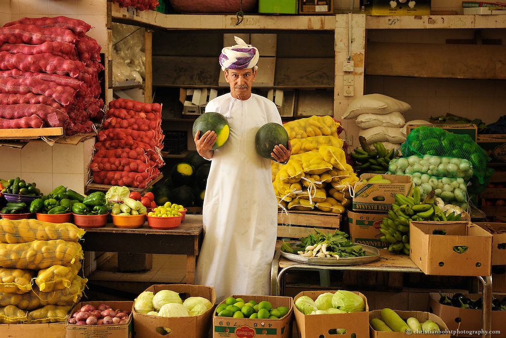 Vegetable market at the Muttrah souk in Muscat, Oman, 2011