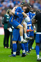 LONDON, ENGLAND - Saturday, May 17, 2008: Portsmouth's David Nugent and Miguel Pedro Mendes celebrate after beating Cardiff City 1-0 during the FA Cup Final at Wembley Stadium. (Photo by David Rawcliffe/Propaganda)