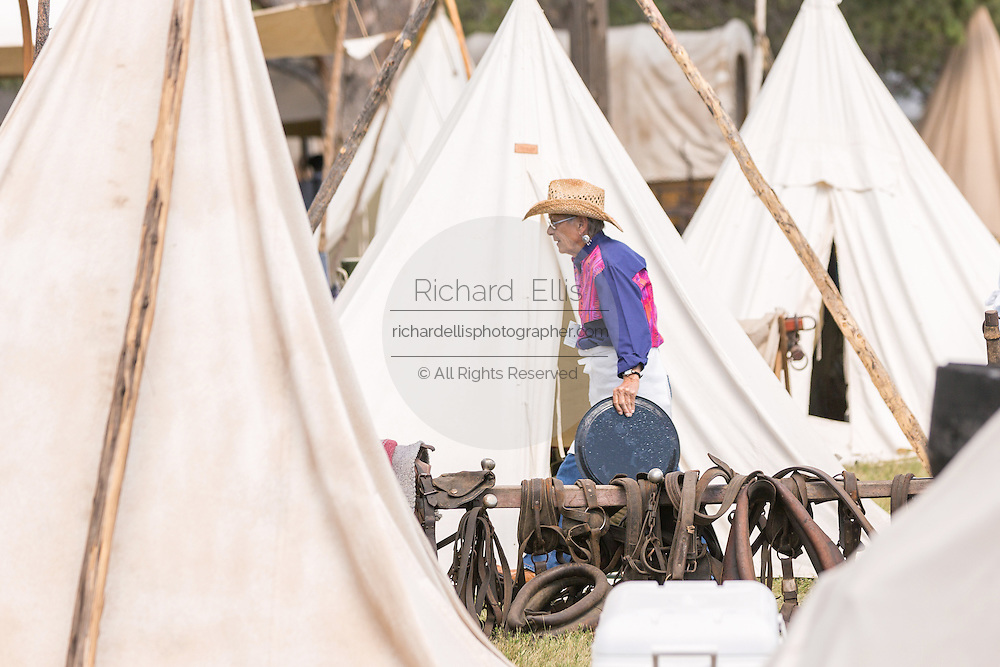 An old time cowboy camp during Cheyenne Frontier Days July 25, 2015 in Cheyenne, Wyoming. Frontier Days celebrates the cowboy traditions of the west with a rodeo, parade and fair.