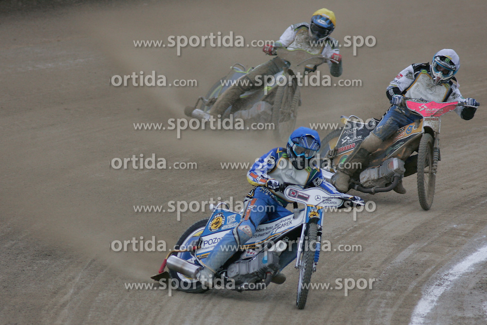 Szymon Kielbasa of Poland, Robert Miskowiak of Poland and Ales Kraljic of Slovenia at Speedway European Championship race semi finals of individuals, on June 19, 2010, in Sportni park Ilirije, Ljubljana, Slovenia. (Photo by Urban Urbanc / Sportida)