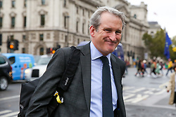© Licensed to London News Pictures. 16/10/2019. London, UK. DAMIAN HINDS MP for East Hampshire and former Secretary of State for Education arrives at Houses of Parliament. Photo credit: Dinendra Haria/LNP