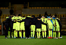 Huddersfield Town huddle on the pitch after they seal a playoff place in the Sky Bet Championship - Mandatory by-line: Robbie Stephenson/JMP - 25/04/2017 - FOOTBALL - Molineux - Wolverhampton, England - Wolverhampton Wanderers v Huddersfield Town - Sky Bet Championship