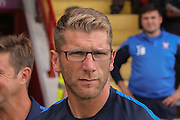 York City coach Richard Cresswell  during the Sky Bet League 2 match between York City and Carlisle United at Bootham Crescent, York, England on 19 September 2015. Photo by Simon Davies.
