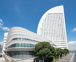 View of modern Intercontinental Hotel and Pacifico Conference  Centre in Minato Mirai, Yokohama, Japan