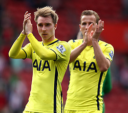 Tottenham Hotspur's Christian Eriksen and Tottenham Hotspur's Harry Kane applaud the crowd - Photo mandatory by-line: Robbie Stephenson/JMP - Mobile: 07966 386802 - 25/04/2015 - SPORT - Football - Southampton - ST Marys Stadium - Southampton v Tottenham Hotspur - Barclays Premier League