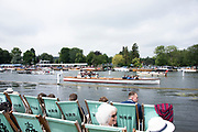 Henley on Thames, England, United Kingdom 7th July 2019, Henley Royal Regatta Sunday Finals, Umpire Launch, Ulysses, make her way to the start, HRR Umpires Launch,  Henley Reach, [© Peter SPURRIER/Intersport Image]<br /> <br /> 12:01:38 1919 - 2019, Royal Henley Peace Regatta Centenary,