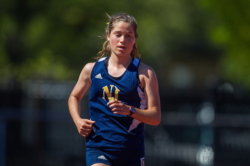 The College of New Jersey's Lauryn Burnett competes in the women's 5000 meter at the NJAC Track and Field Championships at Richard Wacker Stadium on the campus of  Rowan University  in Glassboro, NJ on Saturday May 4, 2013. (photo / Mat Boyle)