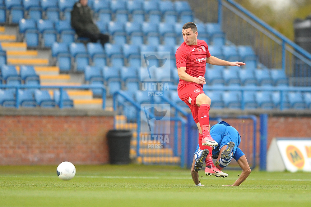 TELFORD COPYRIGHT MIKE SHERIDAN Aaron Williams of Telford flicks on during the Vanarama National League Conference North fixture between Curzon Asthon and AFC Telford United on Saturday, November 9, 2019.<br /> <br /> Picture credit: Mike Sheridan/Ultrapress<br /> <br /> MS201920-028