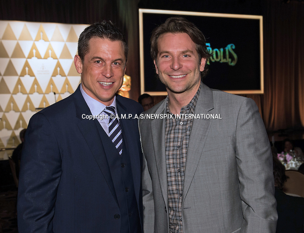 02.02.2015; Beverly Hills, California: 87TH OSCAR NOMINEES LUNCHEON - BRADLEY COOPER AND JASON  HALL<br /> Oscar Nominees attended the annual Nominees Luncheon that honours this year's contenders for the Oscars at the Beverly Hilton, Beverly Hills, Los Angeles<br /> Awards for outstanding film achievements of 2014 will be presented on Oscar Sunday, February 22, 2015, at the Dolby Theatre&reg; at Hollywood &amp; Highland Center&reg;, Los Angeles.<br /> Mandatory Photo Credit: &copy;Harbaugh/Newspix International<br /> <br />               **ALL FEES PAYABLE TO: &quot;NEWSPIX INTERNATIONAL&quot;**<br /> <br /> PHOTO CREDIT MANDATORY!!: NEWSPIX INTERNATIONAL(Failure to credit will incur a surcharge of 100% of reproduction fees)<br /> <br /> IMMEDIATE CONFIRMATION OF USAGE REQUIRED:<br /> Newspix International, 31 Chinnery Hill, Bishop's Stortford, ENGLAND CM23 3PS<br /> Tel:+441279 324672  ; Fax: +441279656877<br /> Mobile:  0777568 1153<br /> e-mail: info@newspixinternational.co.uk