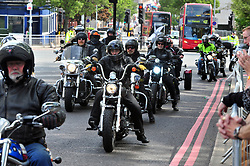 &copy; Licensed to London News Pictures. 22/05/2017<br /> Flags are back up in Woolwich for Lee Rigby.<br /> The Lee Rigby memorial motorbike ride took place this morning on the fourth anniversary of his death. Large numbers of bikers past the Lee Rigby memorial on Wellington Street near Woolwich Barracks, Woolwich,  which only days ago was attacked and damaged by vandals.<br /> Photo credit :Grant Falvey/LNP