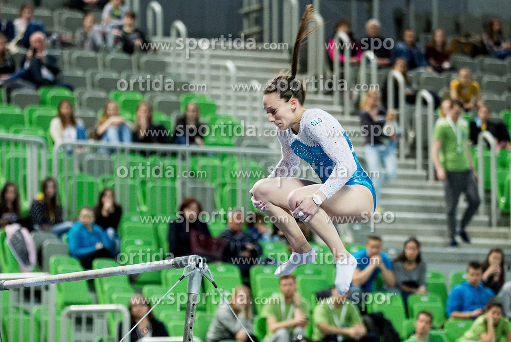 Ivana Kamnikar of Slovenia competes in Uneven Bars during Qualifications of Artistic Gymnastics World Cup Ljubljana, on April 8, 2016 in Arena Stozice, Ljubljana, Slovenia. Photo by Vid Ponikvar / Sportida