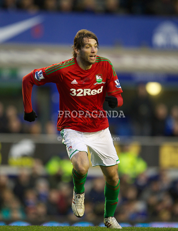LIVERPOOL, ENGLAND - Saturday, January 12, 2013: Swansea City's Miguel Perez Cuesta 'Michu' in action against Everton during the Premiership match at Goodison Park. (Pic by David Rawcliffe/Propaganda)