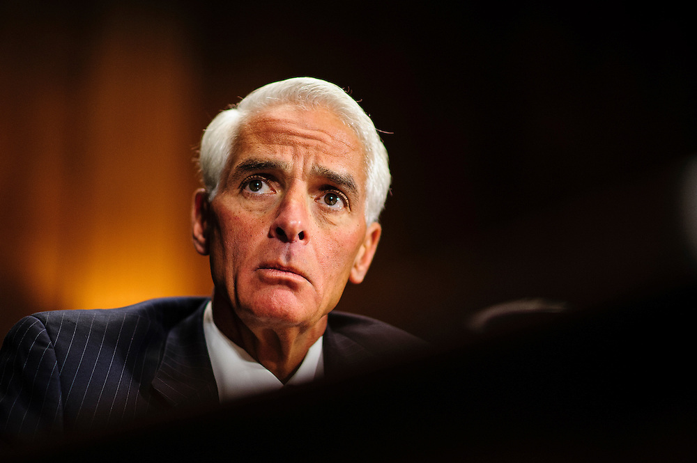 "Former Florida Governor CHARLIE CRIST testifies before a Senate Judiciary Committee hearing on Capitol Hill Wednesday about ""The State Of The Right To Vote After The 2012 Election."" The hearing focused on American's access to the voting booth and the continuing need for protections against efforts to limit or suppress voting."