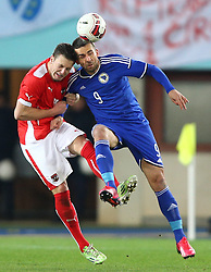 31.03.2015, Ernst Happel Stadion, Wien, AUT, Freundschaftsspiel, Oesterreich vs Bosnien Herzegowina, im Bild Kevin Wimmer (AUT) und Vedad Ibisevic (BiH) // during the friendly match between Austria and Bosnia and Herzegovina at the Ernst Happel Stadion, Vienna, Austria on 2015/03/31. EXPA Pictures © 2015, PhotoCredit: EXPA/ Thomas Haumer