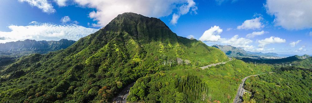 Aerial panorama photograph of the Pali Highway and the Koolau Mountains, Oahu, Hawaii