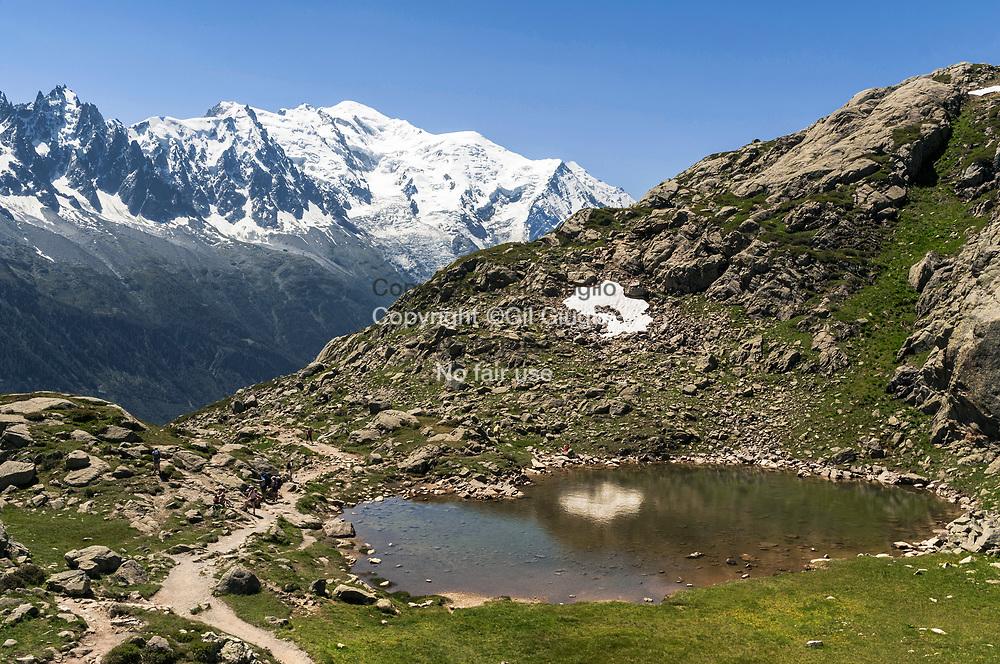 France, Auvergne Rhône-Alpes, Haute-Savoie (74) , Pays du Mont Blanc, petit lac autour du refuge du Lac Blanc (2352m) sur les monts de la Flégère // France, Auvernge Rhone-Alpes region, department Haute-Savoie, Mont-Blanc region, little lake area of Lac blanc at refuge on la Flegere mountain (2352m)