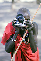 masai man photographing the photographer