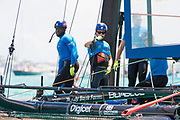 The Great Sound, Bermuda, 20th June 2017, Red Bull Youth America's Cup Finals. Race two. Bermudian Team BDA win race one.