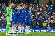Chelsea FC during the minutes silence prior to the Premier League match between Chelsea and Crystal Palace at Stamford Bridge, London, England on 4 November 2018.