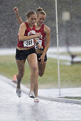 Robertson, Elysia taking the Baton from Connor, Courtney in the women's distance medley relay at the 2007 OTFA Junior-Senior Championships in Ottawa.