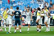 Real Madrid's Croatian midfielder Luka Modric warms up before the Spanish championship Liga football match between Real Madrid CF and Leganes on September 1, 2018 at Santiago Bernabeu stadium in Madrid, Spain - Photo Benjamin Cremel / ProSportsImages / DPPI