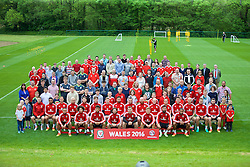 CARDIFF, WALES - Wednesday, June 1, 2016: Wales players pose for a team group photograph with supporters before a training session at the Vale Resort Hotel ahead of the International Friendly match against Sweden. (Pic by David Rawcliffe/Propaganda)