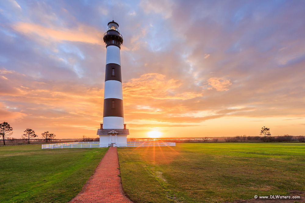 Brick Path to Bodie Island Lighthouse on the Outer Banks of NC at sunrise.