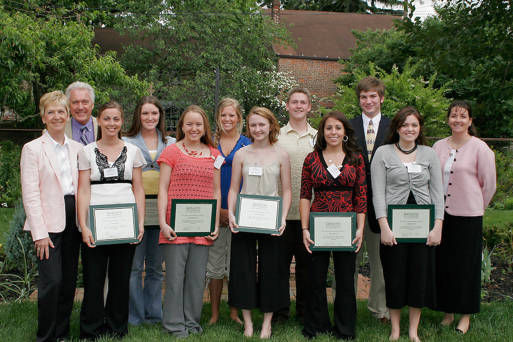 Photo A. .The Gates Foundation-Ross County Scholars recipients include (front row, from left) Mary Gates, Kara Bobo, Jessica Ford, Kelley Marling, Emily Gray,  Holly  Smith and Gates Foundation Director Kim Hirsch; (back row, from left) Larry Gates, Jessica Bennett, Madison Wright-Piekarski, Michel Mears and Dale Thacker.. ..Contact: Ohio University-Chillicothe Coordinator of Communications Jack Jeffery, (740) 707-1368. ..            Fourth Class of The Gates Foundation-Ross County Scholar?s Fund.Recipients Prepare to Follow Their Dreams and Aspirations. ..CHILLICOTHE, Ohio ? This year?s recipients of The Gates Foundation-Ross County Scholar?s Fund were announced today, May 16, during a ceremony at the Atwood House in Chillicothe.. .Eighteen Ross County students received scholarships this year, including 13 continuing scholars who have already embarked on their college careers and five students who will graduate from high school this spring.. .Jessica Ford, a fourth-year recipient of the scholarship, is heading into her senior year at Ohio University?s Athens campus and said she is incredibly thankful for the Gates? support.. .?It?s amazing to see this kind of generosity continue for the duration of my college years,? she said. ?I think it really speaks to their character. It?s neat to be a part of the Gates? first graduating class of scholarship recipients.?. .In 2004, Chillicothe native Larry A. Gates and his wife, Mary, established the scholarship fund to pave the way to a college education for students graduating from Ross County high schools. This is the fourth class to benefit from the scholarship fund, which will eventually total approximately $10 million.. .?Our decision to support scholarships is driven by a strong belief in young people and a deep belief in the power of education and learning,? Gates said.. .As a former senior vice president of human resources and administration for Philip Morris Companies, Gates traveled the globe, managing worldwide huma
