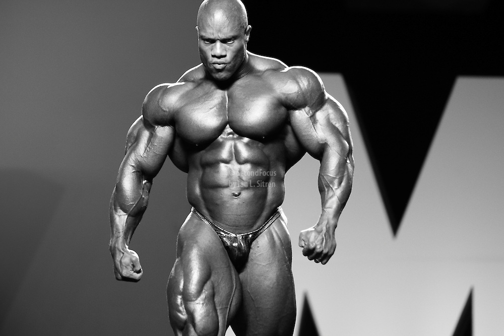 Phil Heath competing at the 2010 Mr. Olympia finals in Las Vegas.