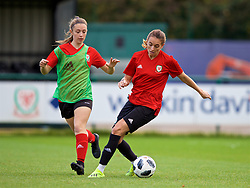 NEWPORT, WALES - Tuesday, November 6, 2018: Wales' Caitlin Bevan, Kayleigh Green during a training session at Dragon Park ahead of two games against Portugal. (Pic by Paul Greenwood/Propaganda)