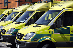 © Licensed to London News Pictures. 05/06/2013<br /> Ambulances outside Farnborough hospital Accident and Emergency Department in Kent. <br /> File picture from (26.06.2012)<br /> Waiting times for accident and emergency patients have hit a nine-year high, according to figures released.<br /> The monitoring report from The King's Fund showed that in the final quarter of 2012-13, 5.9% of patients - 313,000 people - waited four hours or longer in A&E, the highest level since 2004.<br /> Photo credit :Grant Falvey/LNP