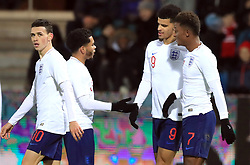 England U21's Dominic Solanke (second right) celebrates scoring his side's second goal of the game with team-mates during the international friendly match at the Blue Water Arena, Esbjerg.