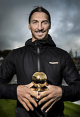 Manchester- Zlatan Ibrahimovic is rewarded with the Golden Ball 2016- 21 Nov 2016