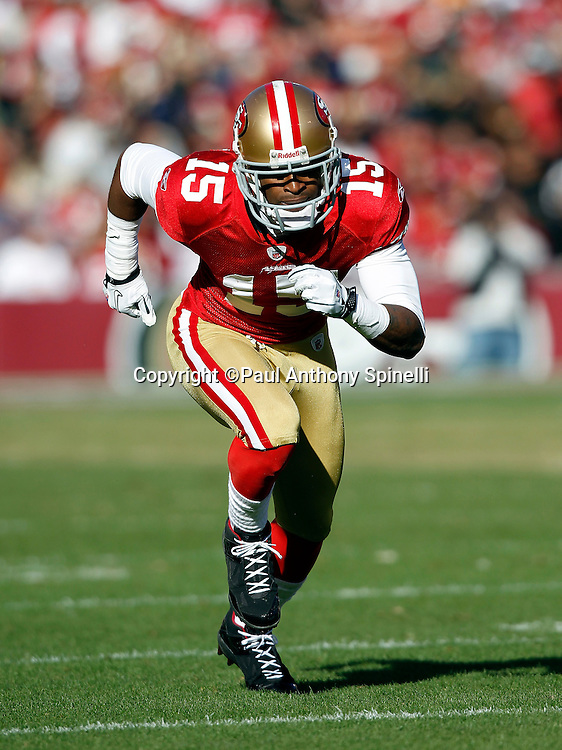 San Francisco 49ers wide receiver Michael Crabtree (15) goes out for a pass during the NFL week 11 football game against the Tampa Bay Buccaneers on Sunday, November 21, 2010 in San Francisco, California. The Bucs won the game 21-0. (©Paul Anthony Spinelli)