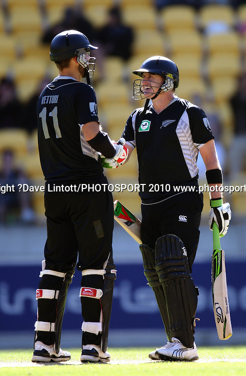NZ captain Daniel Vettori congratulates Scott Styris on his half-century.<br /> Fifth Chappell-Hadlee Trophy one-day international cricket match - New Zealand v Australia at Westpac Stadium, Wellington. Saturday, 13 March 2010. Photo: Dave Lintott/PHOTOSPORT