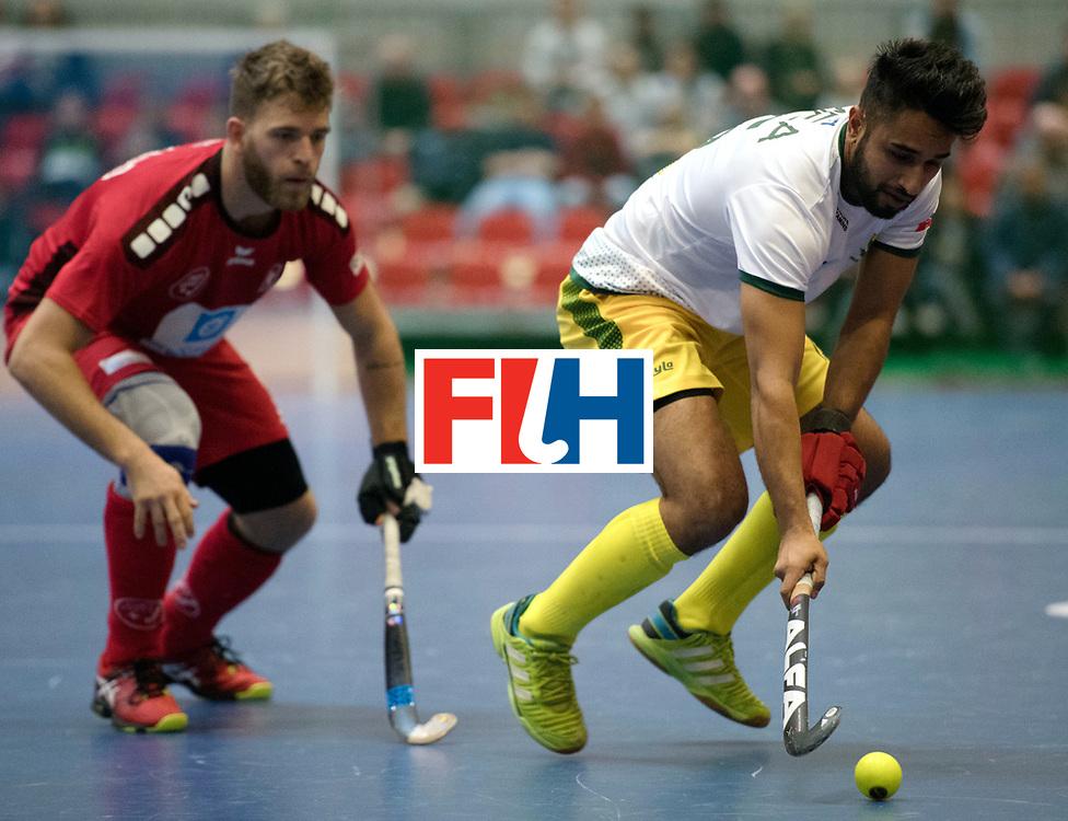 BERLIN - Indoor Hockey World Cup<br /> Switzerland - South Africa<br /> foto: MEA Mohamed<br /> WORLDSPORTPICS COPYRIGHT FRANK UIJLENBROEK