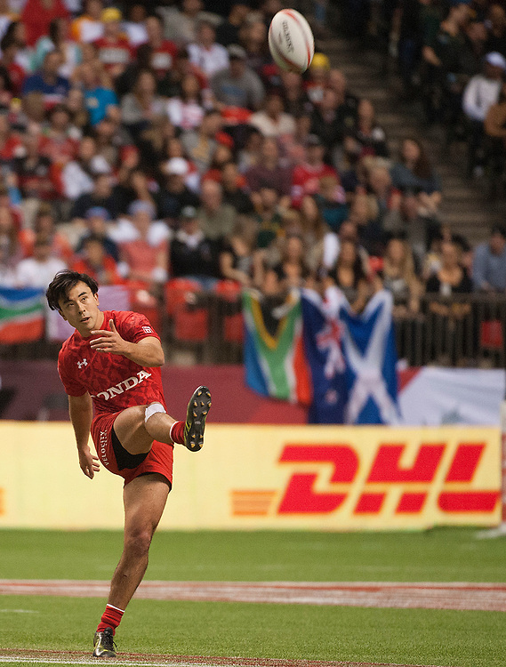 Nathan Hirayama of Canada during the pool stages of the Canada Sevens,  Round Six of the World Rugby HSBC Sevens Series in Vancouver, British Columbia, Saturday March 11, 2017. <br /> <br /> Jack Megaw.<br /> <br /> www.jackmegaw.com<br /> <br /> jack@jackmegaw.com<br /> @jackmegawphoto<br /> [US] +1 610.764.3094<br /> [UK] +44 07481 764811