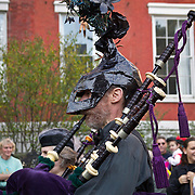 NYU New York University bagpipe band at childrens Halloween parade at Washington Square in Greenwich Village, New York, NY