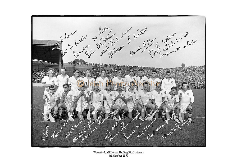 Waterford, All Ireland Hurling Final winners<br /> <br /> 4th October 1959