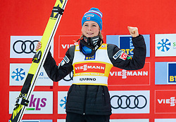 Second placed Maren Lundby of Norway celebrates at trophy ceremony during Day 3 of World Cup Ski Jumping Ladies Ljubno 2019, on February 10, 2019 in Ljubno ob Savinji, Slovenia. Photo by Matic Ritonja / Sportida