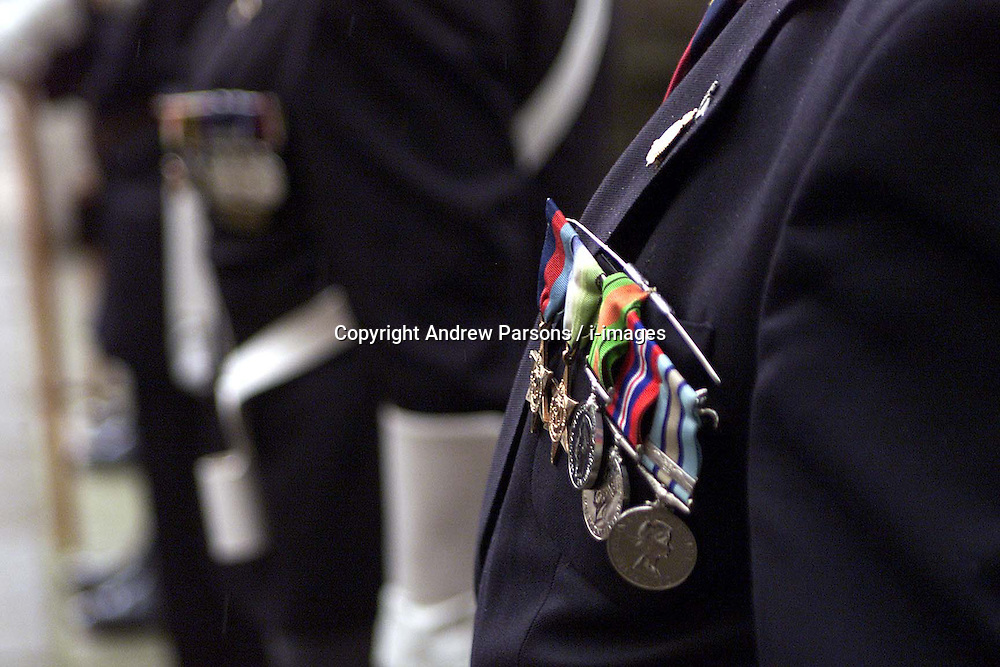 Peoples medals on display, during the 60th Anniversary service of The Commonwealth Air Plan, The St Clement Danes church, Strand, London, April 30, 2000. Photo by Andrew Parsons / i-images..