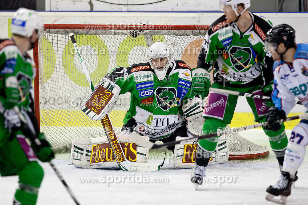 Jean-Philippe Lamoureux (HDD Tilia Olimpija, #1) during ice-hockey match between HDD Tilia Olimpija and SAPA Fehervar AV19 at second match in Quarterfinal  of EBEL league, on Februar 21, 2012 at Hala Tivoli, Ljubljana, Slovenia. HDD Tilia Olimpija won 2:1 in OT. (Photo By Matic Klansek Velej / Sportida)