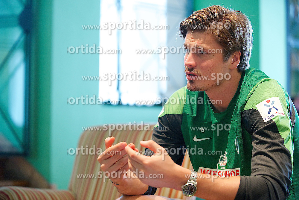 13.01.2014, Teamhotel, Jerez de la Frontera, ESP, FS Vorbereitung, SV Werder Bremen, Trainingslager, im Bild Sebastian Prödl / Proedl (Bremen #15) gibt Interview // Sebastian Prödl / Proedl (Bremen #15) gibt Interview after a practice session at the training camp of the German Bundesliga Club SV Werder Bremen at the Teamhotel in Jerez de la Frontera, Spain on 2014/01/13. EXPA Pictures © 2014, PhotoCredit: EXPA/ Andreas Gumz<br /> <br /> *****ATTENTION - OUT of GER*****