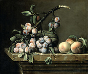 Plums, Melon and Peaches on a Marble Table': Still life by Pierre Dupuis (1610-1682) French flower painter.